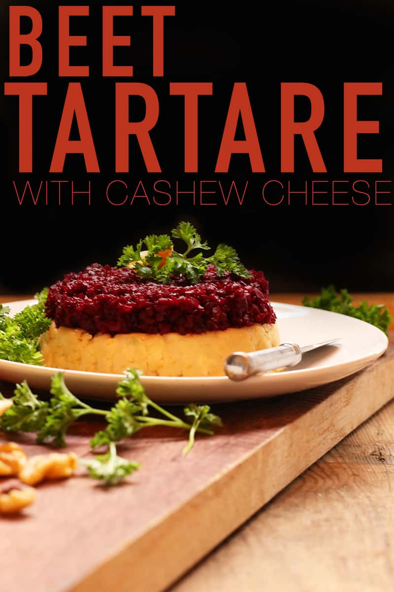 This Beet Tartare with Cashew Cheese is made with roasted balsamic beets served over lemony cashew cheese for a delicious and decadent appetizer. #vegan #cashewcheese #beets #vegetarian #appetizers #snacks #mydarlingvegan