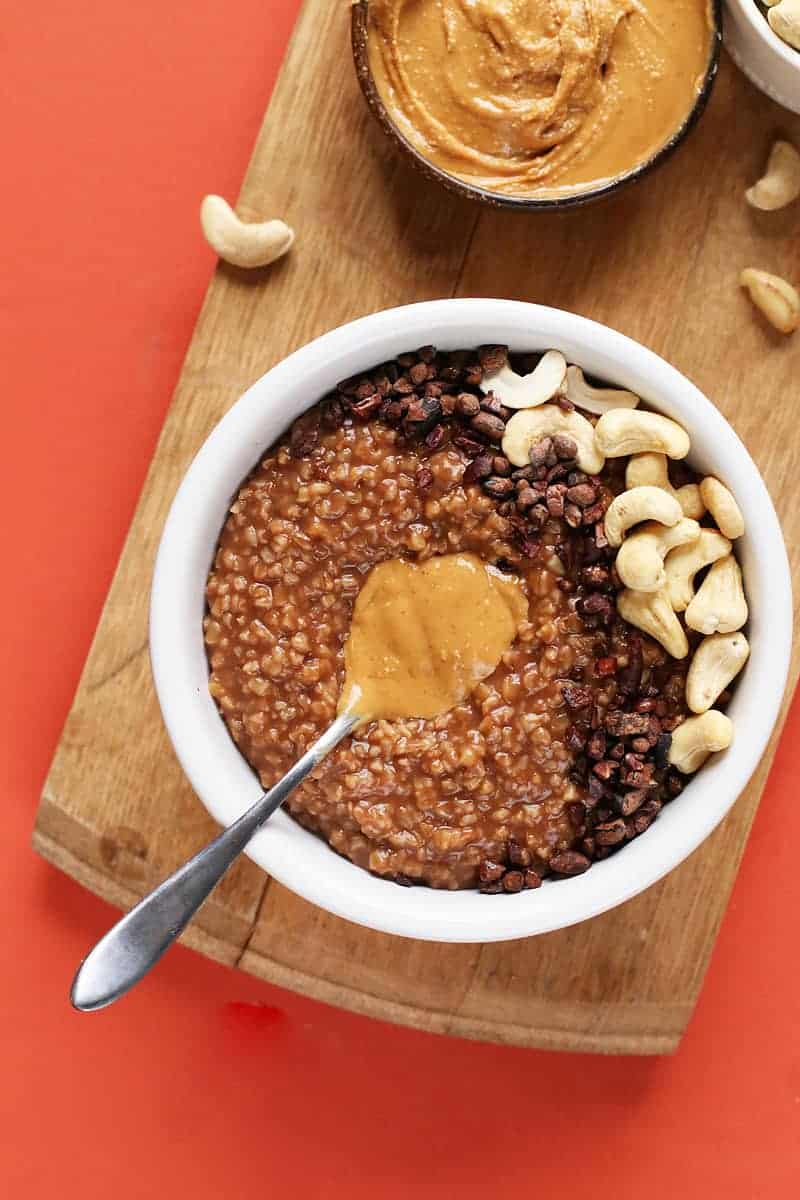 Healthy Chocolate Peanut Butter Steel Cut Oats