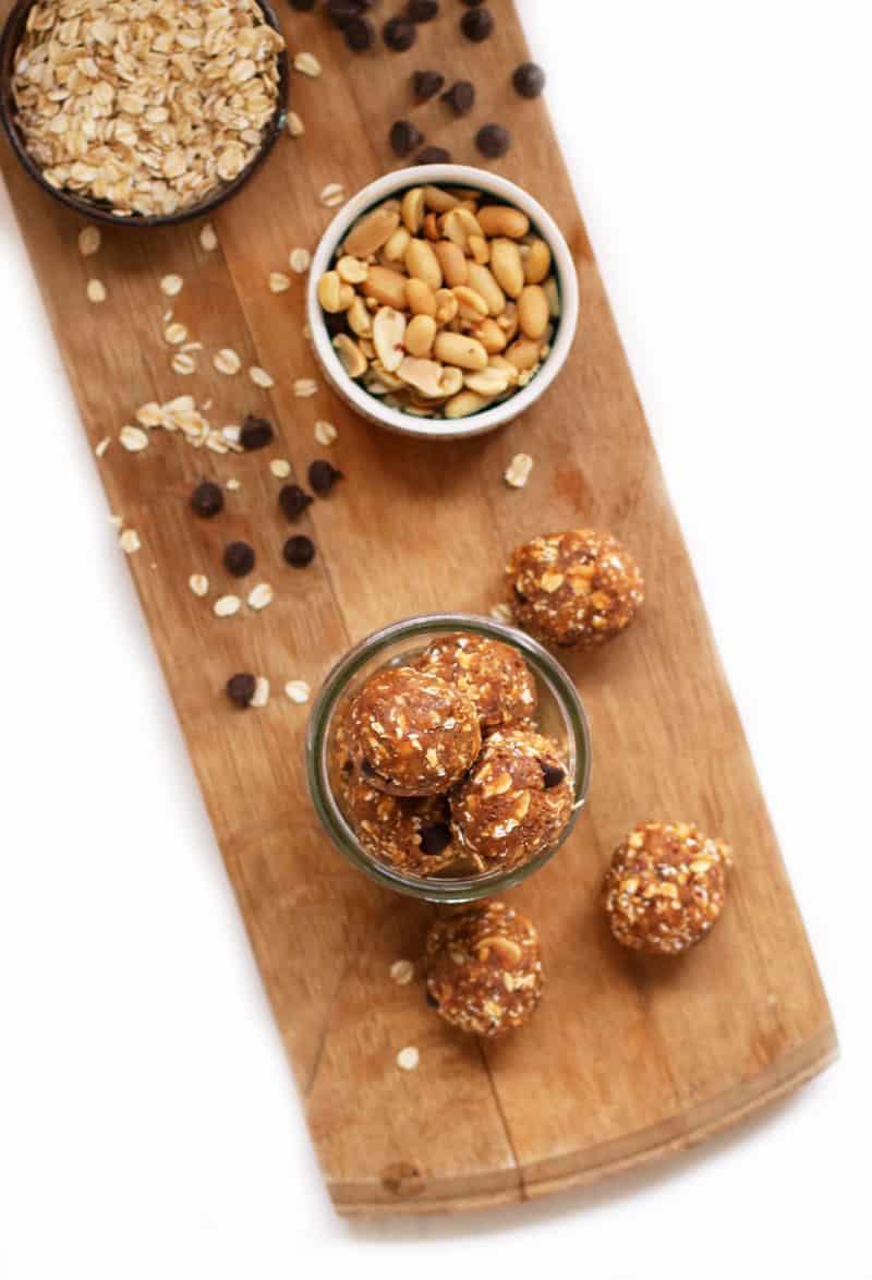 Peanut Butter Protein Balls on wooden platter