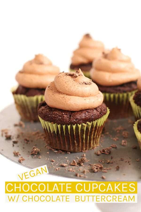 These vegan chocolate cupcakes are rich and moist then topped with silky smooth buttercream for the perfect celebratory treat everyone will love. #vegan #vegancupcakes #vegandessert #chocolate