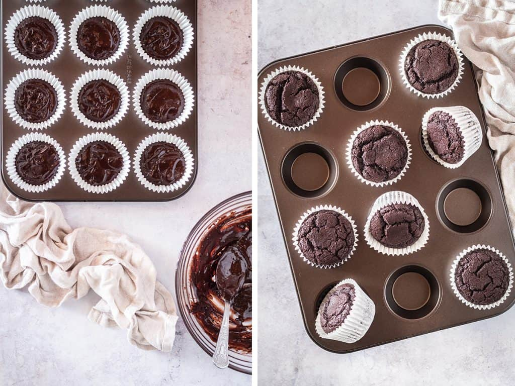 Left, unbaked chocolate cupcake batter in muffin tin. Right, baked cupcakes resting on the muffin tin.