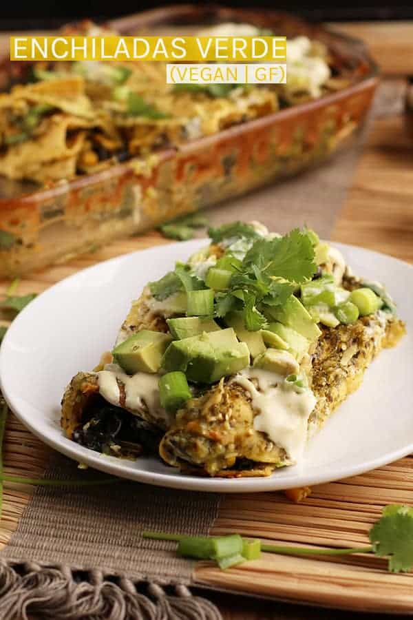 These Vegan Enchiladas Verde are made with roasted zucchini and corn and topped with homemade salsa verde for a healthy and delicious plant-based dinner. #vegan #vegetarian #mexican #enchiladas #glutenfree #recipes #dinner #mydarlingvegan