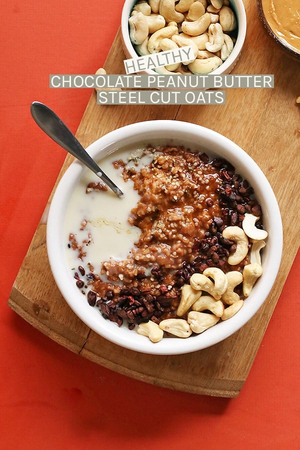 This Chocolate Peanut Butter Oatmeal is made with steel cut oats, raw cacao powder, cacao nibs, and natural peanut butter for a wholesome and delicious breakfast. #vegan #vegetarian #breakfast #oats #chocolate #peanutbutter #breakfast #mydarlingvegan