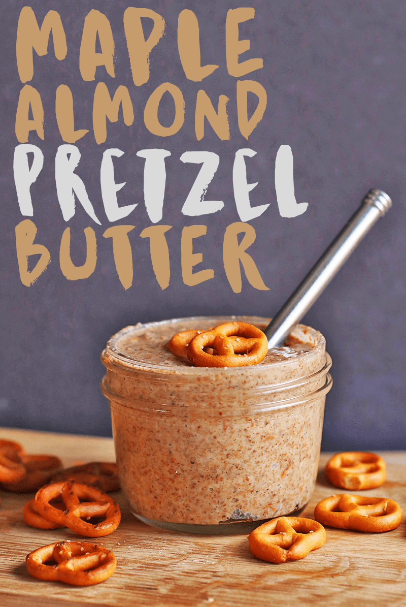 This maple pretzel homemade pretzel butter is sweet, salty, and with the perfect crunch. Spread it on toast, apples, bananas for a delicious and satisfying snack. #vegan #snacks #kidrecipes #mydarlingvegan #almonds