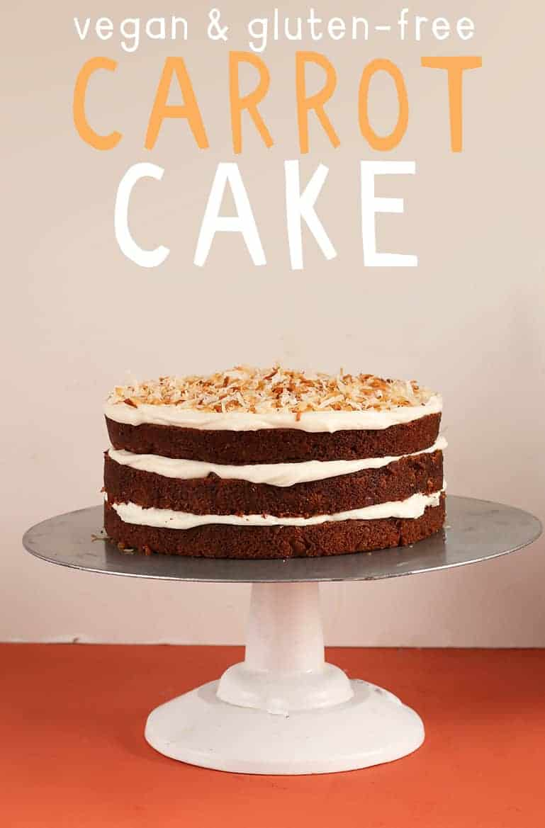 Vegan Gluten Free Carrot Cake on cake stand
