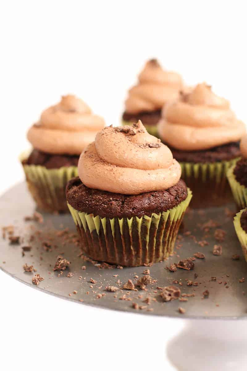 Vegan chocolate cupcakes with buttercream
