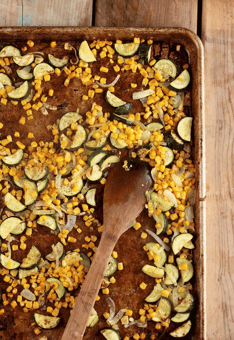 Roasted corn and zucchini on sheet pan