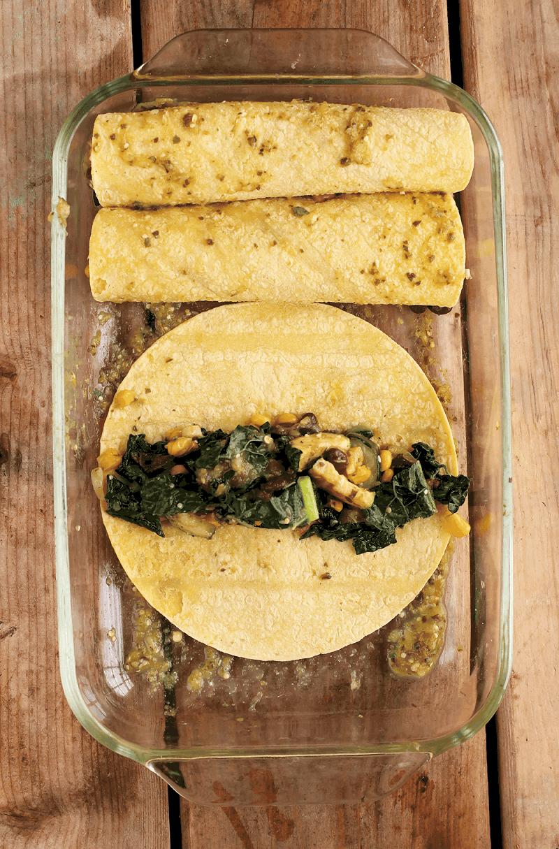 Vegan Enchiladas with corn tortillas