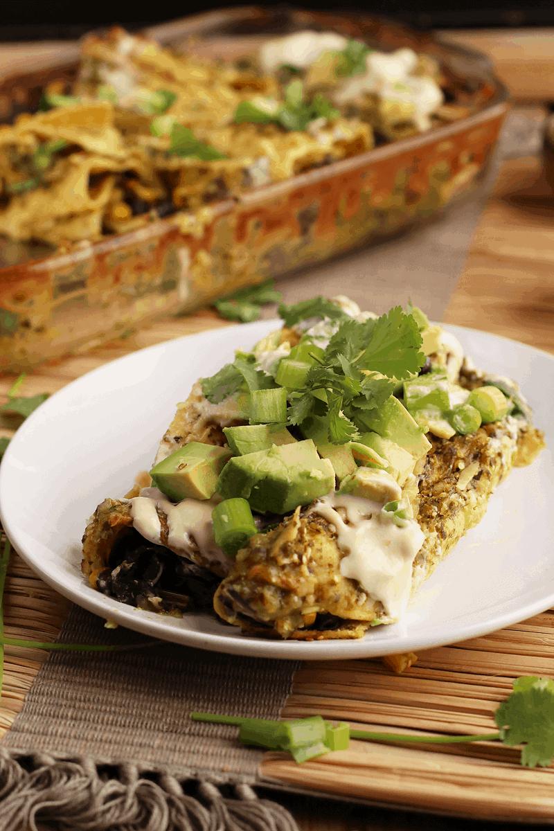 Vegan Enchiladas Verdes with Avocado