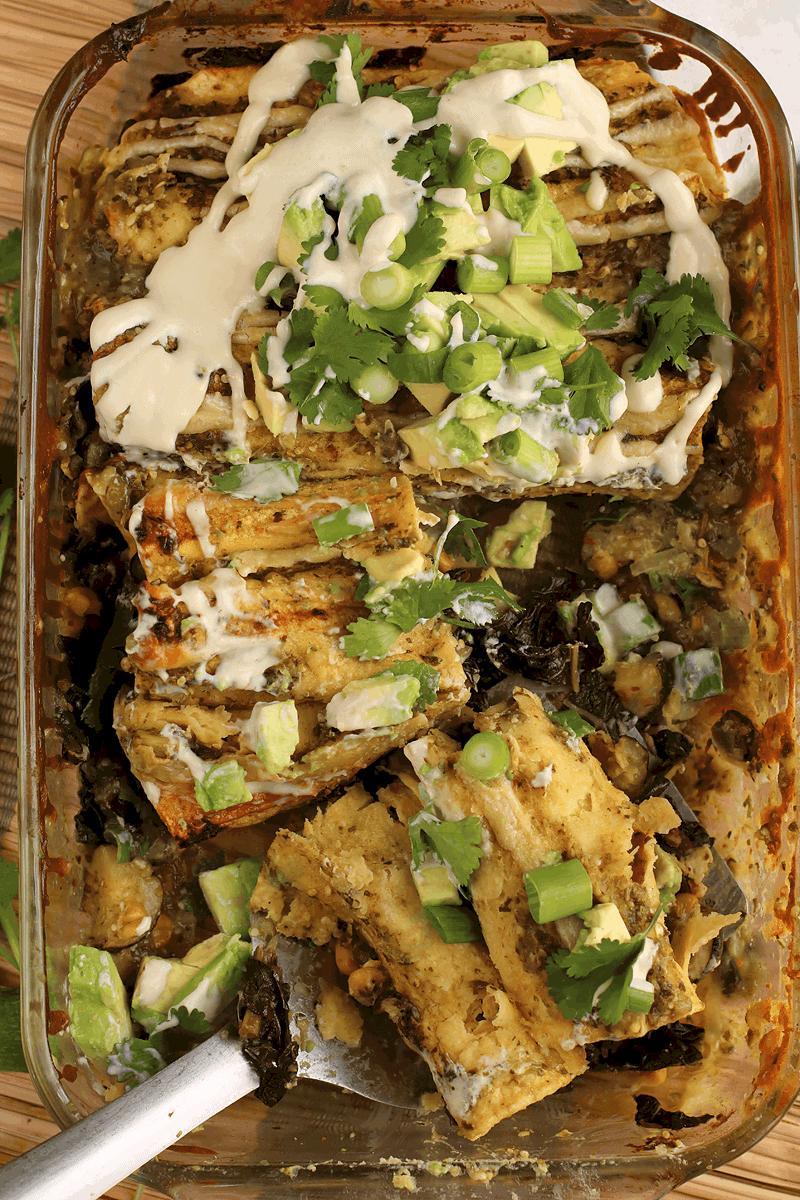 Vegan Enchiladas in casserole dish