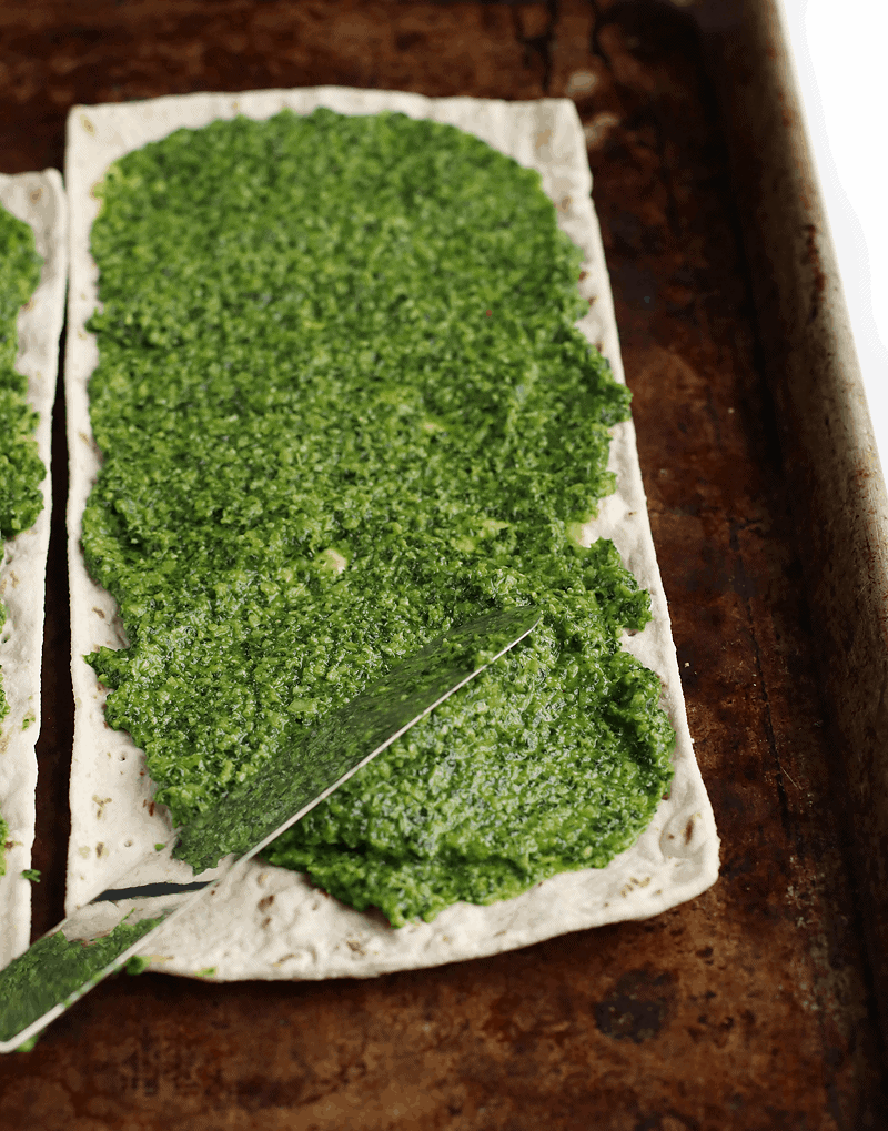 Kale pesto on pizza crust