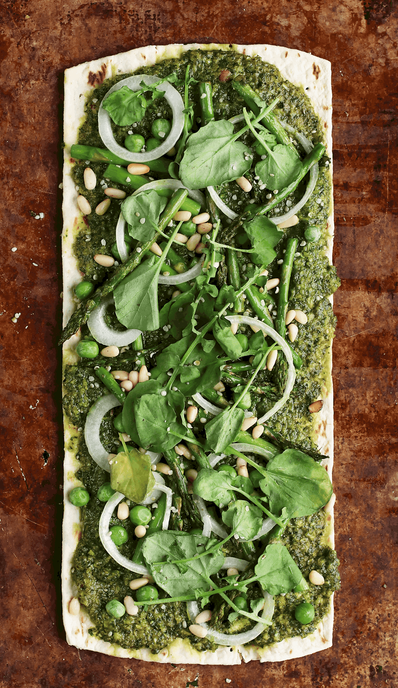Green Goddess Pizza on baking sheet