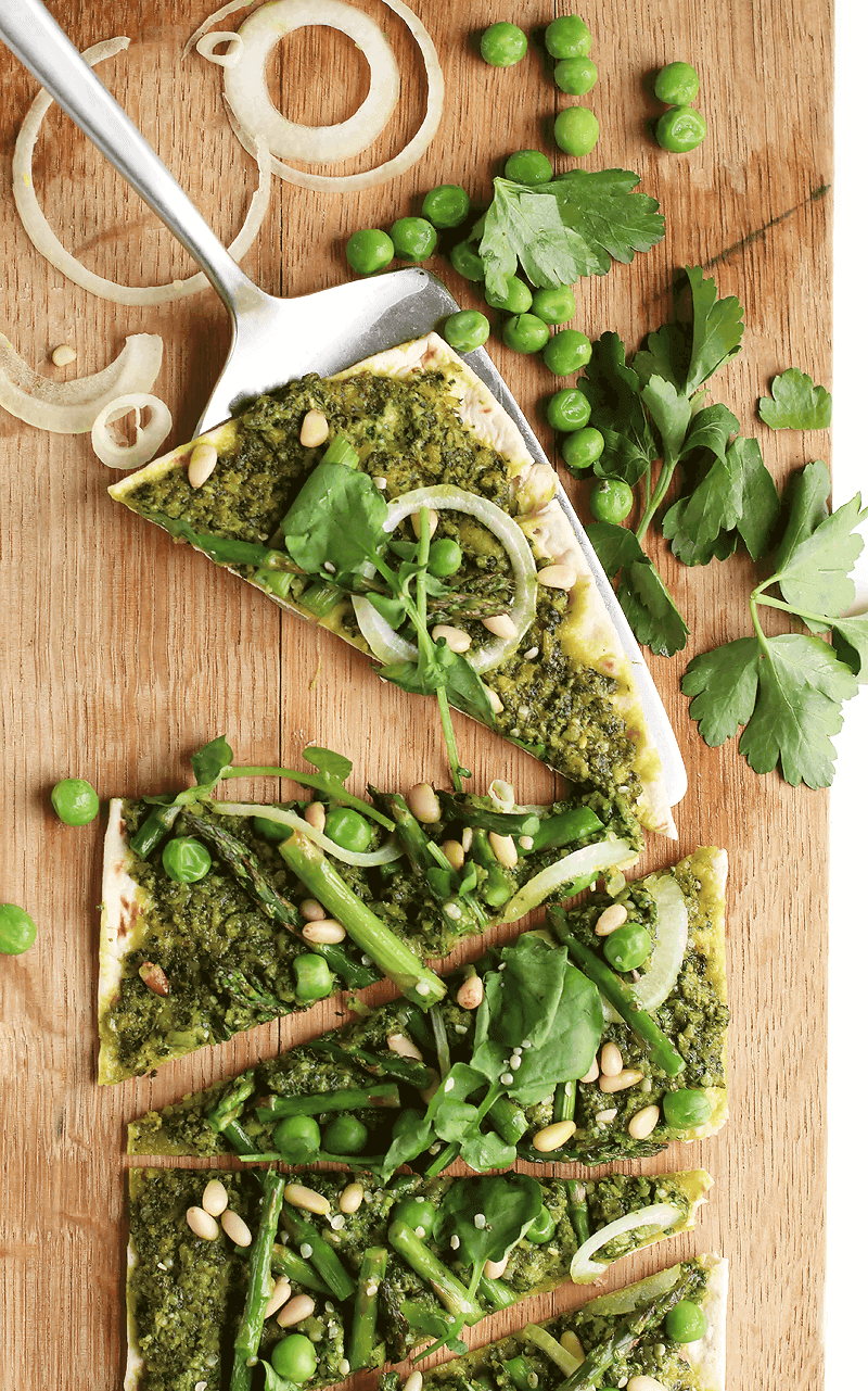 Slices of Green Goddess Pizza