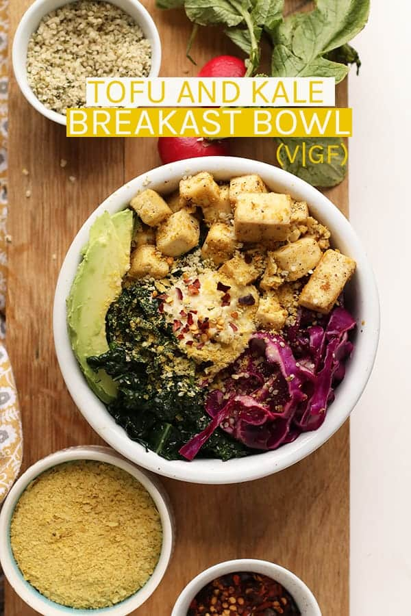 This Vegan Breakfast Bowl with Tofu and Kale has everything you need – protein, healthy fats, and the best superfoods to energize you and keep you going all day long. #vegan #tofu #breakfast #kale #recipes #vegetarian #glutenfree #mydarlingvegan