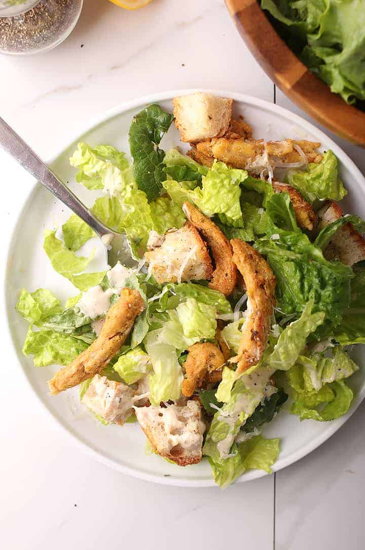 Vegan Chicken Caesar Salad