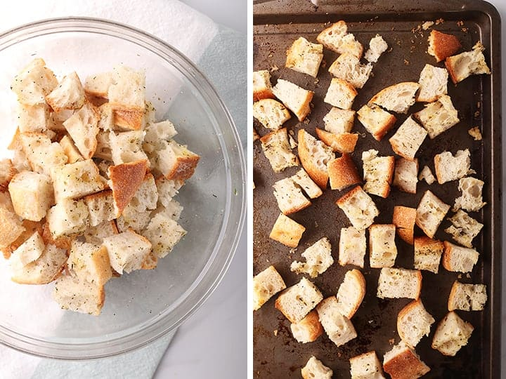 Homemade croutons on sheet pan