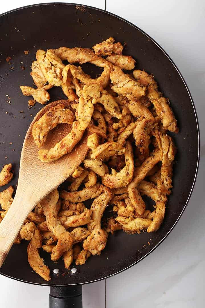 Chicken-flavored soy curls in skillet