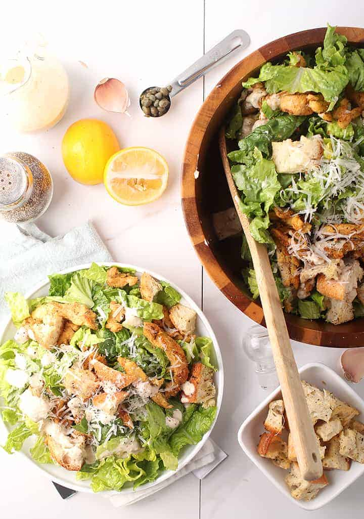 Vegan Caesar salad in wooden bowl