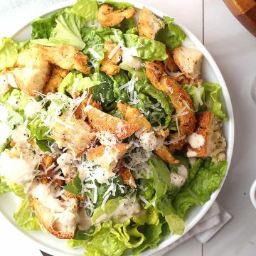 Vegan Chicken Caesar Salad with Soy Curls