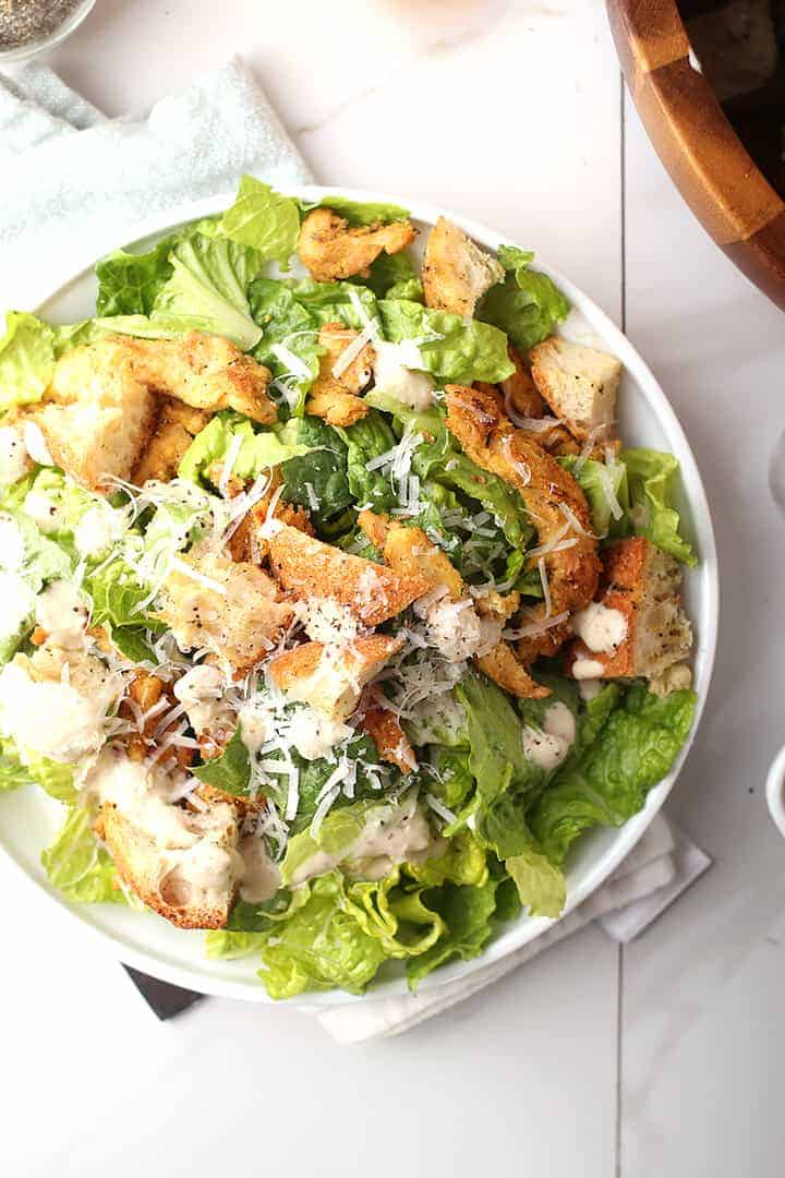 Vegan Chicken Caesar Salad on white plate