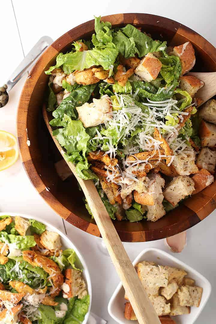 Large salad with homemade croutons and cheese
