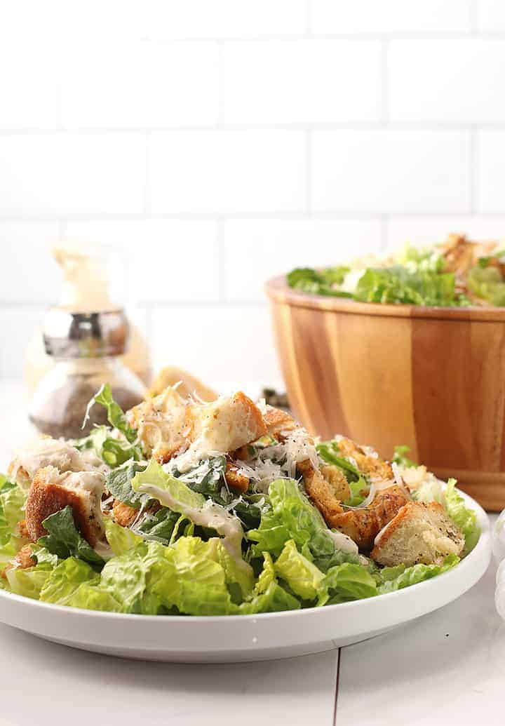 Vegan Caesar Salad on white plate