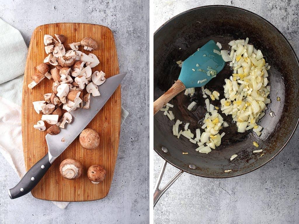 Sautéed onions and garlic in a wok