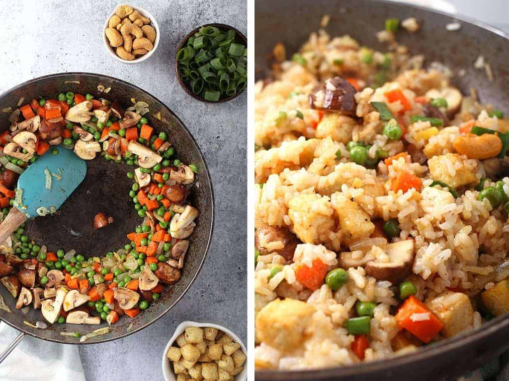 Sautéed vegetables and rice in a large wok