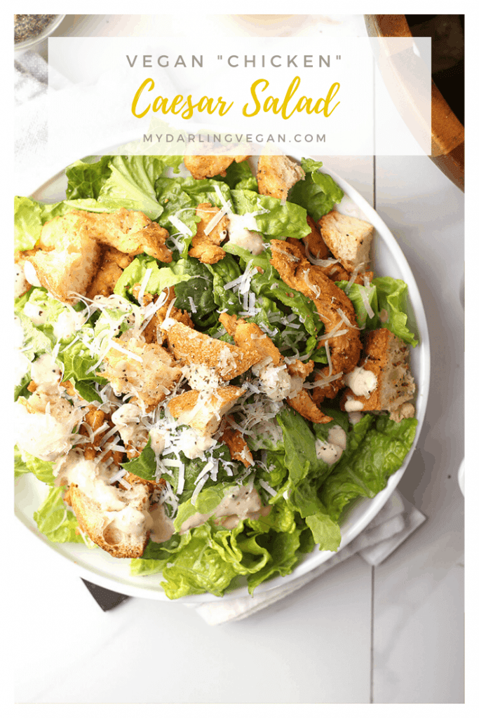 A refreshing and classic vegan Caesar Salad made with a mixture of Romaine lettuce and kale and topped with vegan parmesan, fresh croutons, and homemade caesar dressing. It's a healthy spin on a classic salad that everyone will love.
