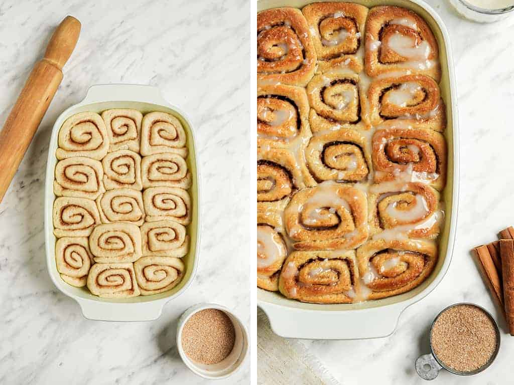 Finished cinnamon rolls in the baking pan covered in fresh glaze.