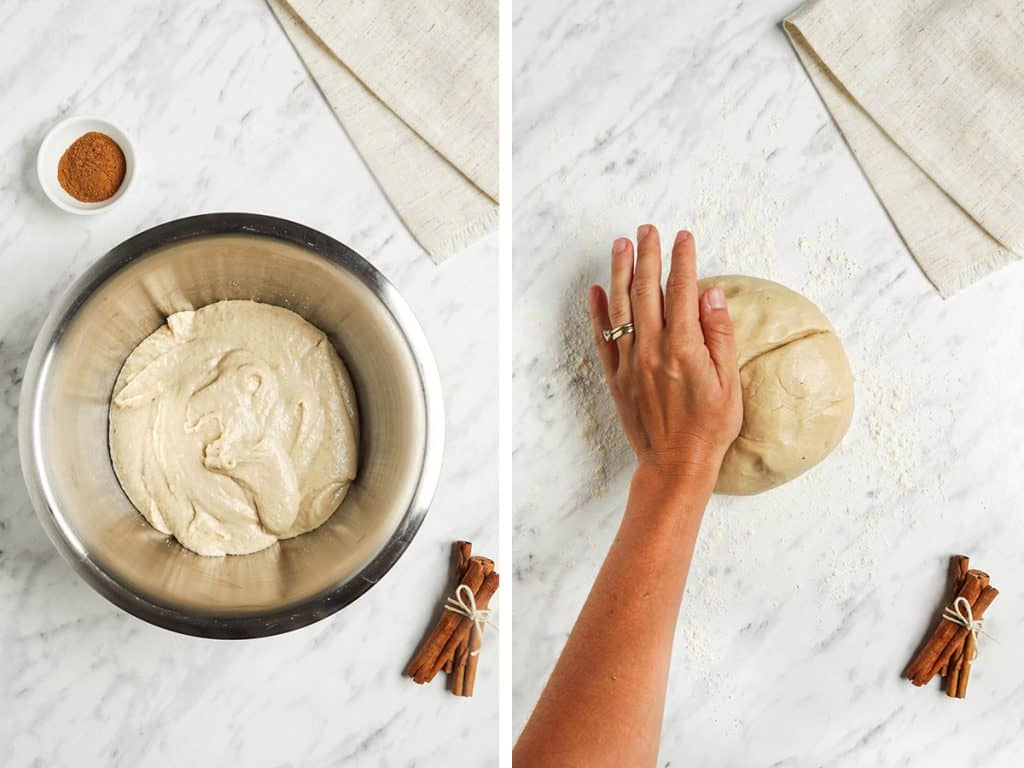 Cinnamon roll dough rolled into a ball and kneaded together on a marble surface.