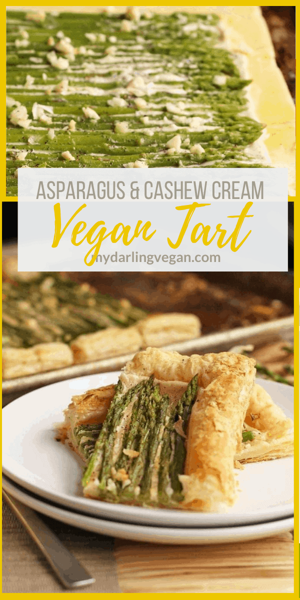 Make any holiday special with this Vegan Cashew Cream and Asparagus Tart. Made with puff pastry for a delicious and decadent side dish for your holiday table.