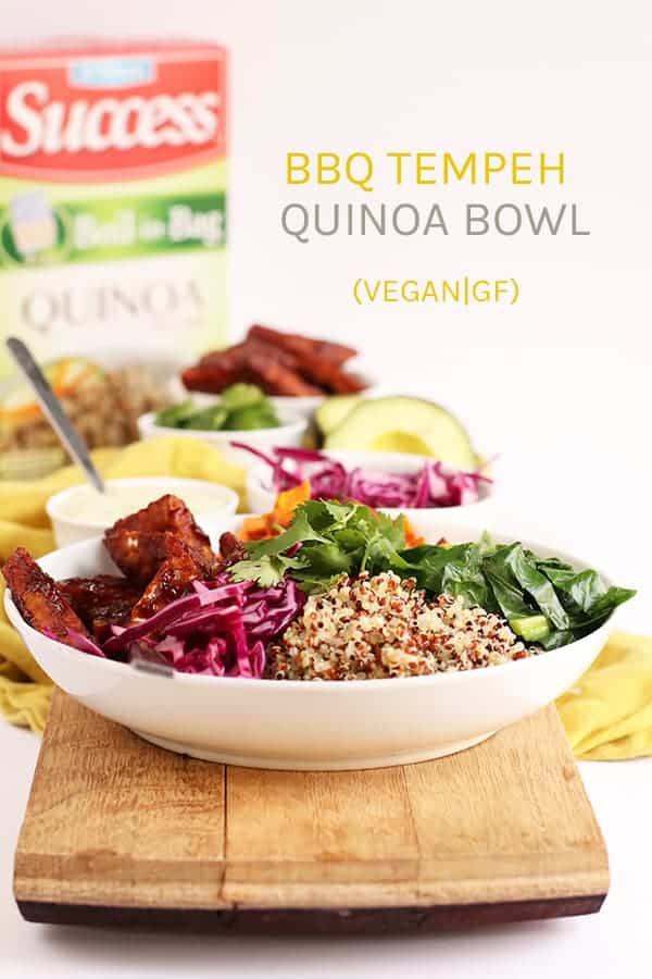 This BBQ Tempeh Quinoa Bowl is full of seasoned vegetables, delicious proteins, and fresh flavor for a vegan and gluten-free dinner recipe. #vegan #vegetarian #tempeh #BBQ #bowls #glutenfree #dinner #veganrecipes #mydarlingvegan