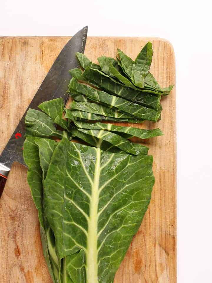 Collard greens cut into thin strips