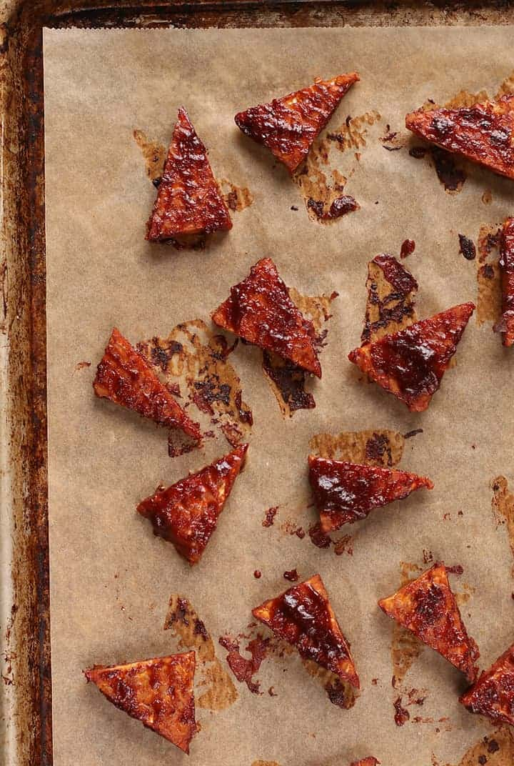 BBQ Tempeh on baking sheet