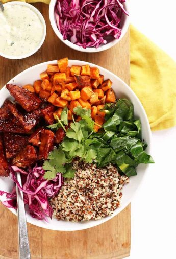 BBQ Tempeh Quinoa Bowls with Ranch Dressing