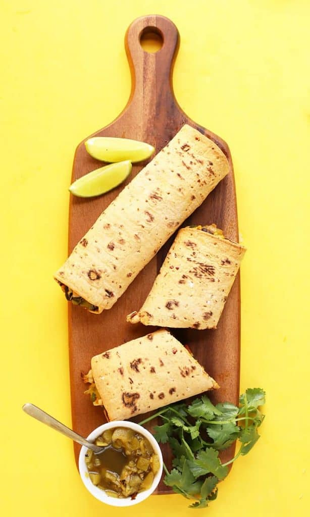 Southwest Breakfast Burrito on a wooden platter