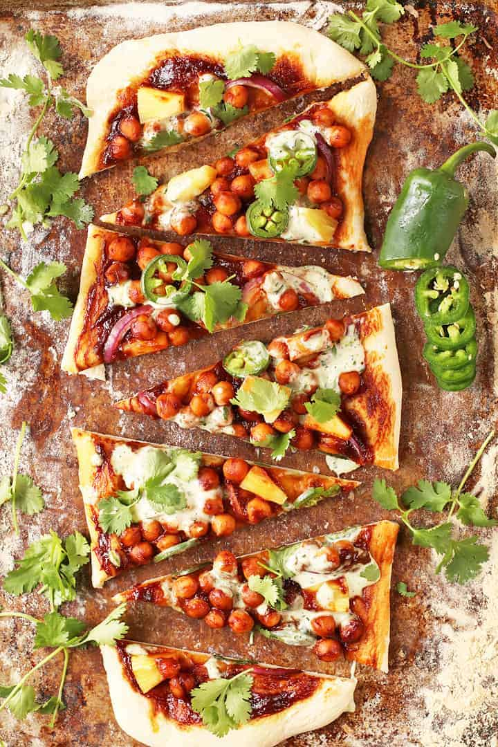 BBQ Chickpea Pizza on baking sheet