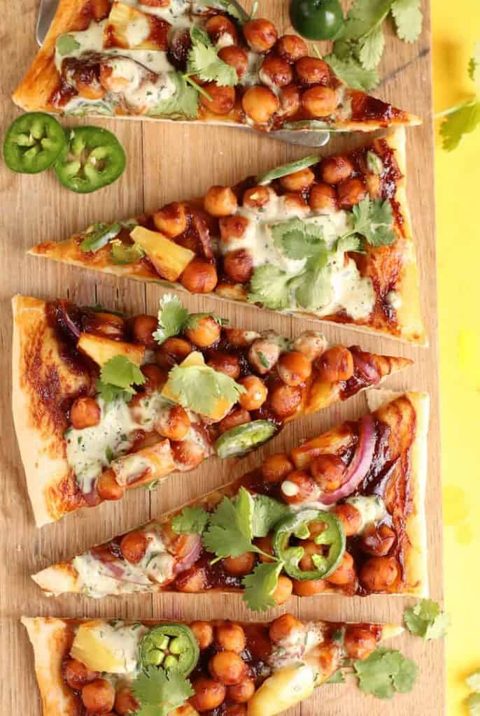 BBQ Chickpea Pizza on a wooden platter