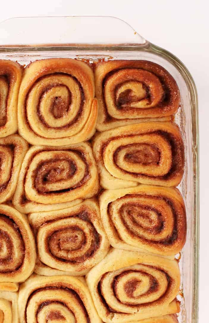 Baked rolls in a glass casserole dish