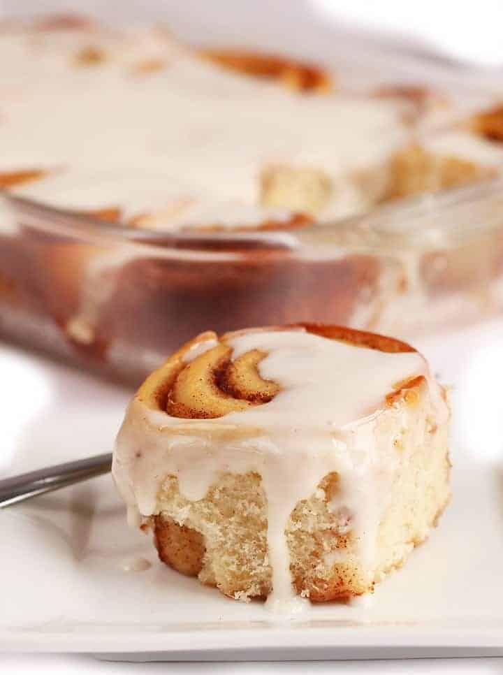 Vegan Cinnamon Rolls on a white plate