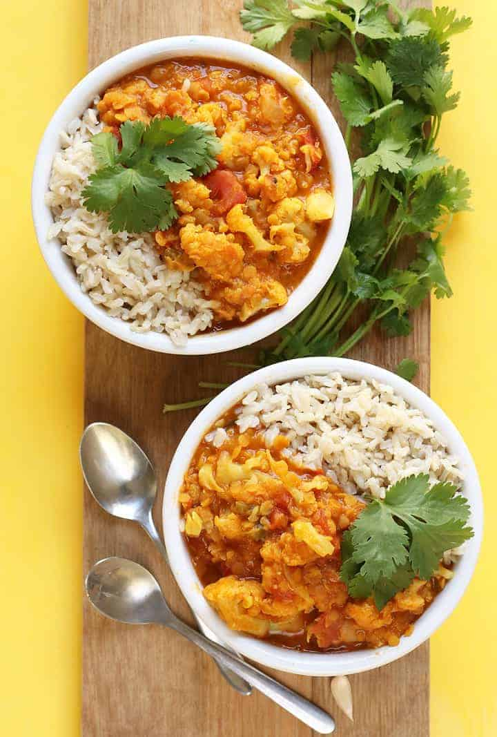 Red Lentil Cauliflower Curry in two bowls