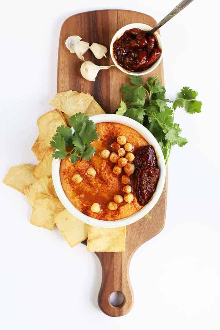 Chipotle Hummus on wooden board