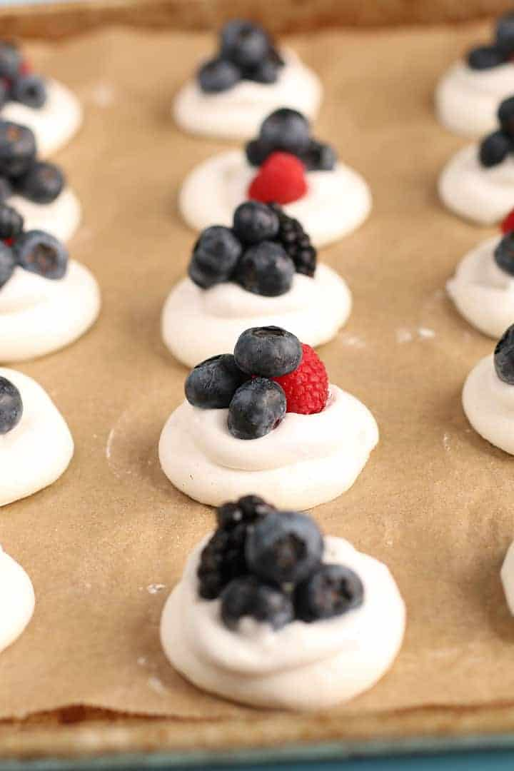 Aquafaba Meringues with fresh berries