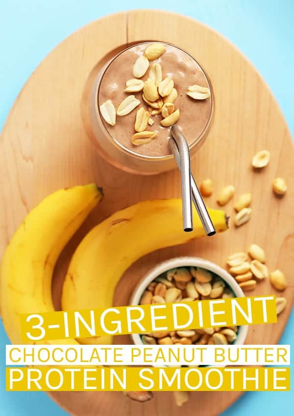A delicious and refreshing chocolate peanut butter protein shake made with just 3 simple, plant-based, protein-rich ingredients. Made in just 5 minutes for a wholesome and hearty breakfast.  #vegan #smoothie #protein #veganrecipes