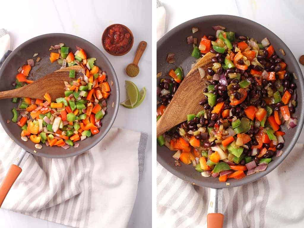 Sautéed onions, bell peppers, and black beans in a large skillet
