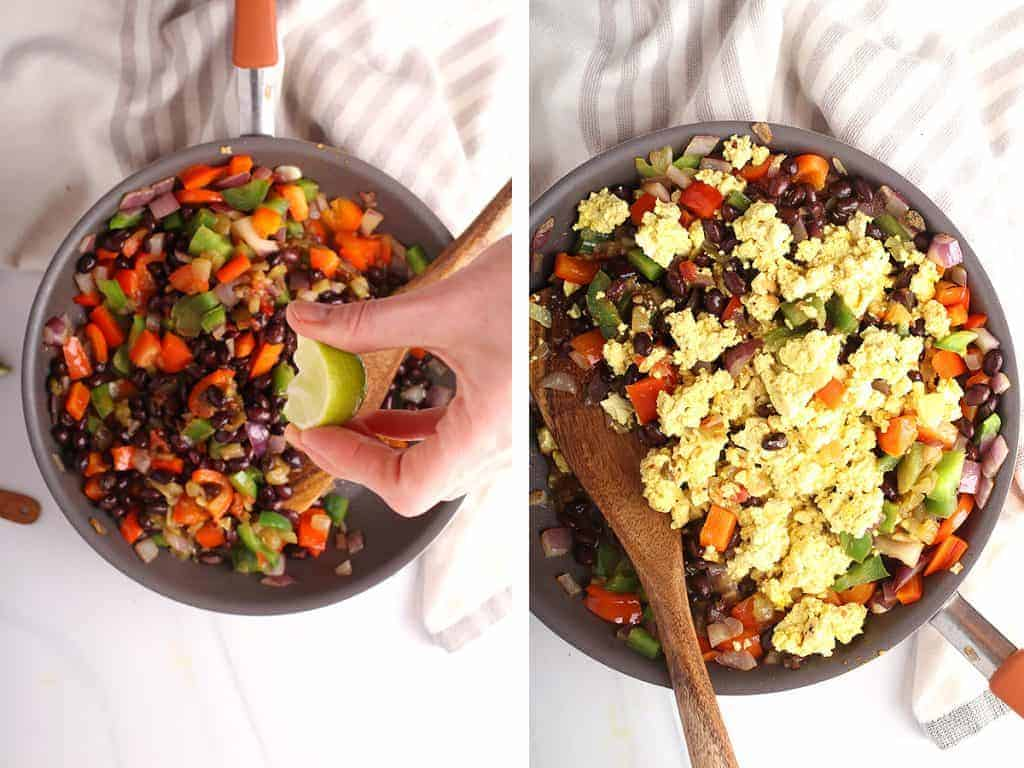 Vegan scrambled eggs mixed with peppers and onions in a large skillet