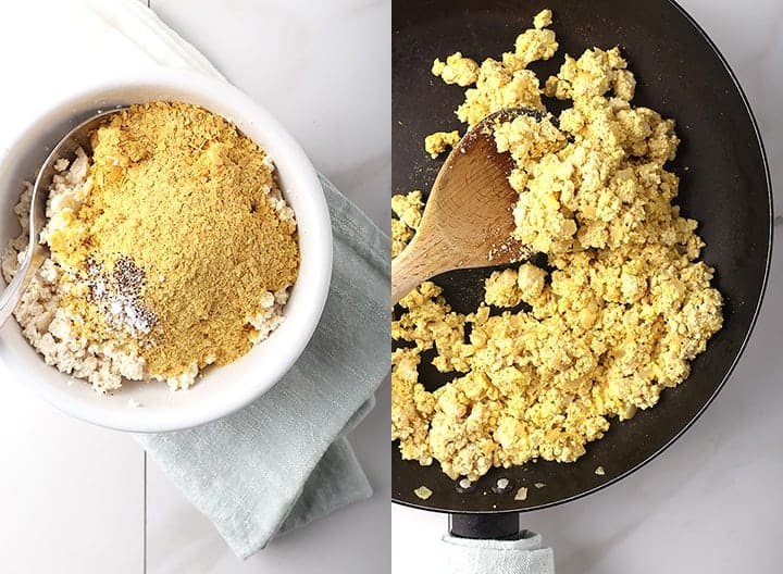 Crumbled tofu mixed with nutritional yeast and cooked in a skillet