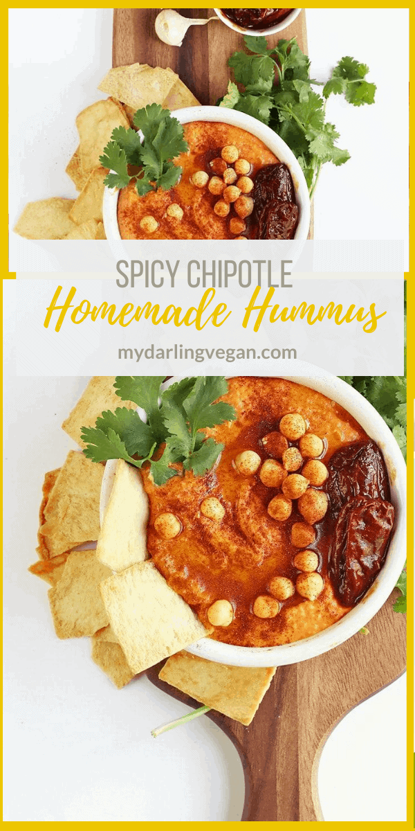 A spicy chipotle hummus that everyone will love. Serve with pita chips or fresh veggies for the perfect party or game day snack.