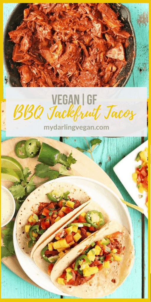 These BBQ Jackfruit Tacos with Mango Salsa are a delicious vegan and gluten-free recipe filled with sweet and tangy flavors that the whole family will love.